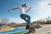 NWA Democrat-Gazette/BEN GOFF @NWABENGOFF<br /> Graham Hassion of Bentonville performs a front side air on his skateboard Friday, Feb. 9, 2018, at the Memorial Park skate park in Bentonville.
