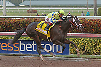 HALLANDALE BEACH, FL - APRIL 01:  #4 Always Dreaming (FL) wth jockey John Velazquez on board, wins the Xpressbet Florida Derby (Grade I) at Gulfstream Park on April 01, 2017 in Hallandale Beach, Florida. (Photo by Liz Lamont/Eclipse Sportswire/Getty Images)