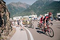 Tejay van Garderen (USA/BMC) up the final climb of the day (in Spain!): the Col du Portillon (Cat1/1292m)<br /> <br /> Stage 16: Carcassonne &gt; Bagn&egrave;res-de-Luchon (218km)<br /> <br /> 105th Tour de France 2018<br /> &copy;kramon