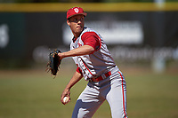 Indiana Hoosiers third baseman Isaiah Pasteur (6) during practice before a game against the Illinois State Redbirds on March 4, 2016 at North Charlotte Regional Park in Port Charlotte, Florida.  Indiana defeated Illinois State 14-1.  (Mike Janes/Four Seam Images)
