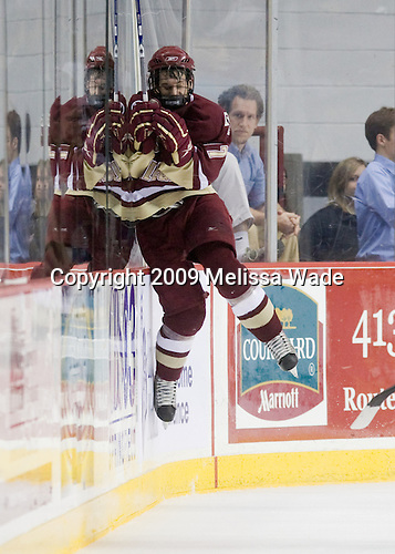 Brian Gibbons (BC - 17) celebrates his goal which made it 2-1 and stood as the gamewinner. - The Boston College Eagles defeated the University of Massachusetts-Amherst Minutement 3-1 on Friday, December 4, 2009, at the Mullins Center in Amherst, Massachusetts.