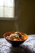 November 21, 2008. Chapel Hill, NC..Locavore cooking, Bill Strom's Turkey Risotto.