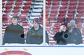 Chris Calnan (BC - 11), Cam Spiro (BC - 15) and Evan Richardson (BC - 22) watch the Providence practice. -  - The participating teams in Hockey East's first doubleheader during Frozen Fenway practiced on January 3, 2014 at Fenway Park in Boston, Massachusetts.