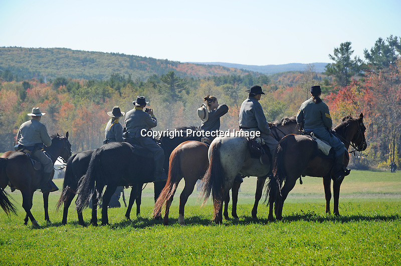 Civil War Reenactment Confederate Army Cavalry Soldiers Ready for Attack