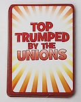 "© Joel Goodman - 07973 332324 . No syndication permitted . 29/09/2013 . Manchester , UK . "" Top Trumped by the Unions "" cards handed out at the Conservative Party Conference . The Conservative Party Conference at Manchester Central . Photo credit : Joel Goodman"