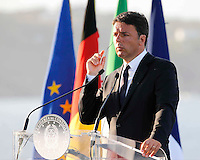 Matteo Renzi , prime minister of Italy, attends at press conference  on board of Itally's Navy Garibaldi, at the of Italy - France - Germany summit in Ventotene Island 22 August 2016