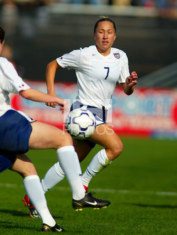 Jenna Klugle, during a 0-0 tie with Japan in San Diego, Calif.,  January 12, 2003.