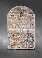 "Ancient Egyptian stele odedicated to Amon Re the ""good Ram"" by foreman Baki, limestone, New Kingdom, 19th Dynasty, (1290-1213 BC), Deir el-Medina, Drovetti cat 1549. Egyptian Museum, Turin. Grey background. Reign of Ramesses II.<br /> <br /> This round-topped stele is carved in low relief and painted <br /> in several colours. The pictorial plane is divided into two <br /> registers, the upper one containing two rams facing each <br /> other. The animals, with cobras rising on their foreheads, <br /> wear tall headdresses composed of two tall plumes with a <br /> solar disk at the centre. Between them is a small offering <br /> table with lotus flowers. The mirror image hieroglyphic <br /> inscription refers to the rams and reveals their divine <br /> nature as that of Amun-Ra. In the register below, <br /> foreman Baki is shown in the pose of adoration."