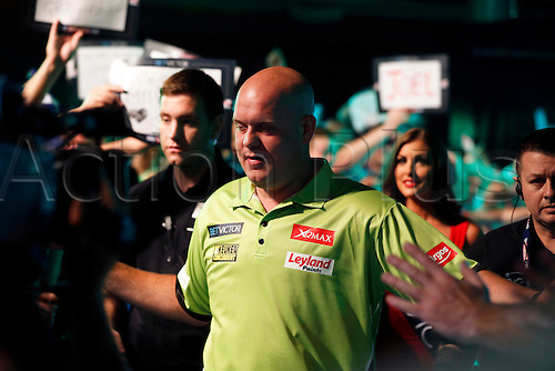 24.07.2016. Empress Ballroom, Blackpool, England. BetVictor World Matchplay Darts. Michael van Gerwen walks into the arena and meets the supporters before entering the stage