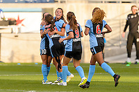 Chicago, IL - Sunday Sept. 04, 2016: Sofia Huerta celebrates scoring during a regular season National Women's Soccer League (NWSL) match between the Chicago Red Stars and Seattle Reign FC at Toyota Park.