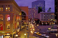 San Diego, California, CA, Westfield Shoppingtown Horton Plaza and downtown skyline of San Diego in the evening.