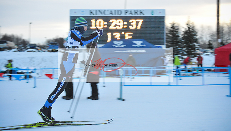 Chugiak's Brian Wing  double poles away from the start of the Chugiak Stampede Saturday, January 16th, 2016.  Wing placed second among Mustan boys and Photo for the Star by  Michael Dinneen
