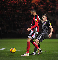 Lincoln City's Harry Anderson vies for possession with Crewe Alexandra's Jordan Bowery<br /> <br /> Photographer Andrew Vaughan/CameraSport<br /> <br /> The EFL Sky Bet League Two - Crewe Alexandra v Lincoln City - Wednesday 26th December 2018 - Alexandra Stadium - Crewe<br /> <br /> World Copyright &copy; 2018 CameraSport. All rights reserved. 43 Linden Ave. Countesthorpe. Leicester. England. LE8 5PG - Tel: +44 (0) 116 277 4147 - admin@camerasport.com - www.camerasport.com