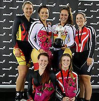 Waikato BOP Jaime Nielsen, Raquel Sheath, Southland's Natasha Hansen, Steph McKenzie, Canterbury's Liz Steel and Victoria Steel at the BikeNZ Elite & U19 Track National Championships, Avantidrome, Home of Cycling, Cambridge, New Zealand, Sunday, March 16, 2014. Credit: Dianne Manson