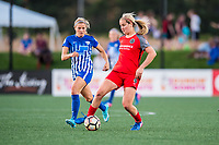 Boston, MA - Friday May 19, 2017: Rosie White and Lindsey Horan during a regular season National Women's Soccer League (NWSL) match between the Boston Breakers and the Portland Thorns FC at Jordan Field.