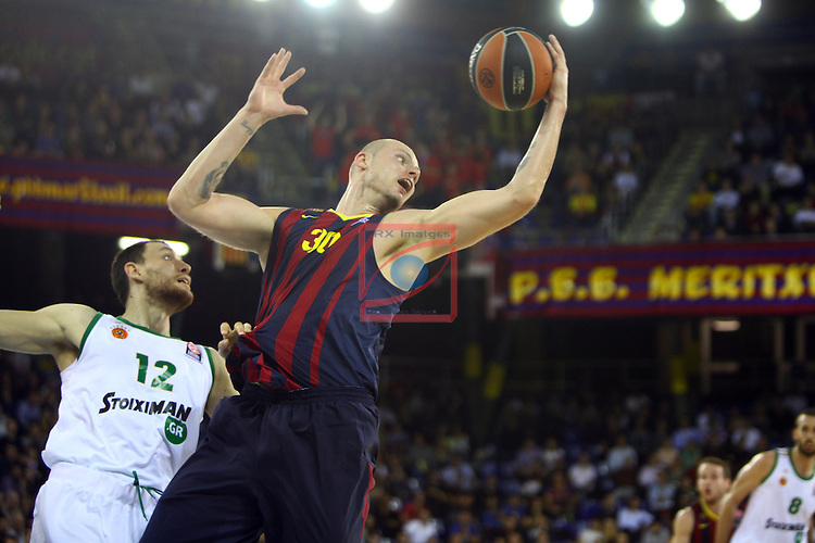 Euroleague Basketball-Regular Season Round 5.<br /> FC Barcelona vs Panathinaikos Athens: 78-69.<br /> Loukas Mavrokefalidis vs Maciej Lampe.
