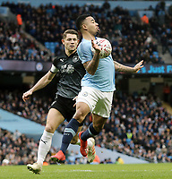 Manchester City's Gabriel Jesus controls under pressure from Burnley's James Tarkowski<br /> <br /> Photographer Rich Linley/CameraSport<br /> <br /> Emirates FA Cup Fourth Round - Manchester City v Burnley - Saturday 26th January 2019 - The Etihad - Manchester<br />  <br /> World Copyright © 2019 CameraSport. All rights reserved. 43 Linden Ave. Countesthorpe. Leicester. England. LE8 5PG - Tel: +44 (0) 116 277 4147 - admin@camerasport.com - www.camerasport.com