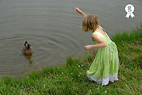 Girl (5-7) feeding duck, rear view (Licence this image exclusively with Getty: http://www.gettyimages.com/detail/200476763-001 )