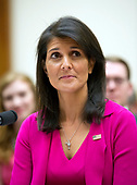 "United States Ambassador to the United Nations Nikki Haley gives testimony before the US House Foreign Affairs Committee on ""Advancing US Interests at the United Nations"" on Capitol Hill in Washington, DC on Wednesday, June 28, 2017.<br /> Credit: Ron Sachs / CNP"