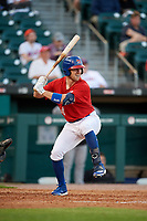 Buffalo Bisons Patrick Kivlehan (14) at bat during an International League game against the Norfolk Tides on June 22, 2019 at Sahlen Field in Buffalo, New York.  Buffalo defeated Norfolk 3-0.  (Mike Janes/Four Seam Images)