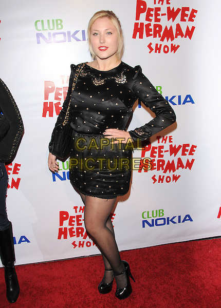 HAYLEY HASSELHOFF.The The Pee-Wee Herman Show Opening Night held at Club Nokia at L.A. Live in Los Angeles, California, USA..January 20th, 2010.full length black dress long sleeves gold studs studded hand on hip.CAP/RKE/DVS.©DVS/RockinExposures/Capital Pictures.