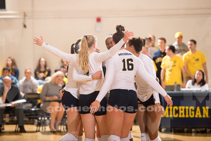The University of Michigan volleyball team defeats Iowa, 3-0, at Cliff Keen Arena in Ann Arbor, MI on October 27, 2017
