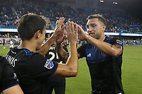 SAN JOSE, CA - AUGUST 24: Shea Salinas #6 and Guram Kashia #37 celebrate after a Major League Soccer (MLS) match between the San Jose Earthquakes and the Vancouver Whitecaps FC  on August 24, 2019 at Avaya Stadium in San Jose, California.
