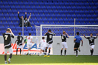 Colin Rolfe (9) of the Louisville Cardinals celebrates scoring late in the second half. The Louisville Cardinals defeated the Providence Friars 3-2 in penalty kicks after playing to a 1-1 tie during the finals of the Big East Men's Soccer Championship at Red Bull Arena in Harrison, NJ, on November 14, 2010.