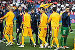 Atletico de Madrid's players and FC Barcelona players during Champions League 2015/2016 Quarter-Finals 2nd leg match. April 13, 2016. (ALTERPHOTOS/BorjaB.Hojas)