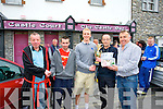 Darren O'Sullivan, Castle Bar presents winner Joe Donovan with the Trophy at the Rock Bars Road Race on Monday Pictured  Dominic O'Brien, Martin Lacey, Darren O'Sullivan, Joe Donovan and  Pascal Power