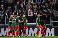 Aleksei Miranchuk of FC Lokomotiv Moscow celebrates with team mates after scoring the goal of 0-1 for his side<br /> Torino 22/10/2019 Juventus Stadium <br /> Football Champions League 2019//2020 <br /> Group Stage Group D <br /> Juventus - Lokomotiv Moscow  <br /> Photo Andrea Staccioli / Insidefoto