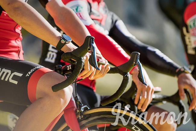 Team BMC team presentation on the (huge) start podium at the (new) race start in Antwerpen<br /> <br /> 101th Ronde Van Vlaanderen 2017 (1.UWT)<br /> 1day race: Antwerp › Oudenaarde - BEL (260km)