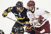 Jace Hennig (Merrimack - 9), Alex Tuch (BC - 12) - The Boston College Eagles defeated the visiting Merrimack College Warriors 2-1 on Wednesday, January 21, 2015, at Kelley Rink in Conte Forum in Chestnut Hill, Massachusetts.