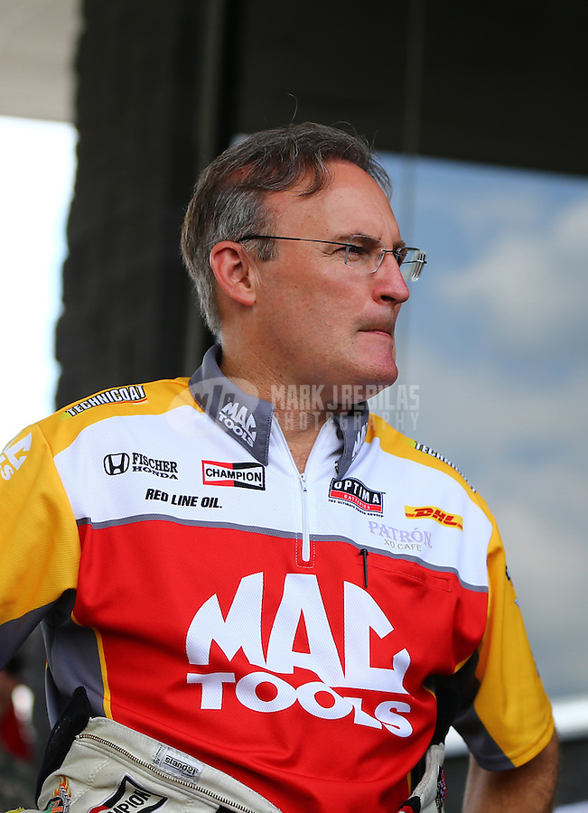 Jun 21, 2015; Bristol, TN, USA; NHRA top fuel driver Doug Kalitta during the Thunder Valley Nationals at Bristol Dragway. Mandatory Credit: Mark J. Rebilas-