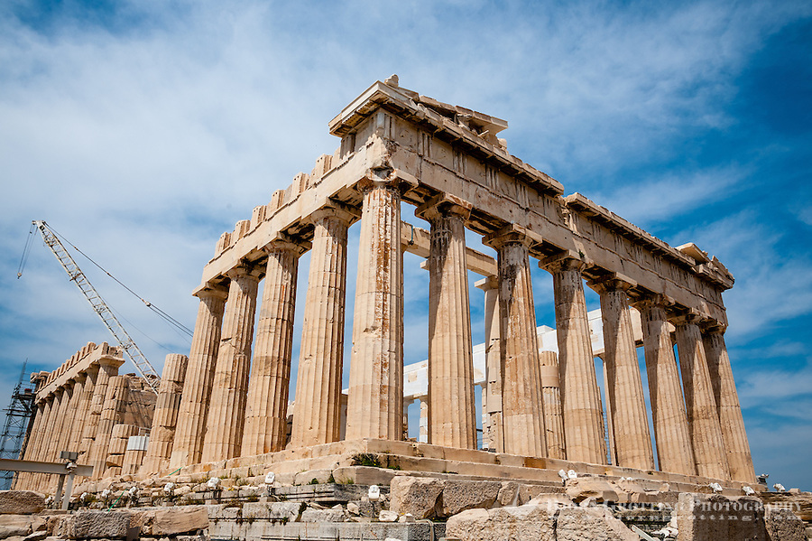 Greece, Athens. The Acropolis with several famous ancient strucures. The Parthenon is a temple dedicated to Athena.