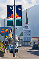 Downtown street, St. Michael's Cathedral, Sitka, Alaska