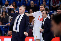 Real Madrid's coach Pablo Laso and Rudy Fernandez during Quarter Finals match of 2017 King's Cup at Fernando Buesa Arena in Vitoria, Spain. February 19, 2017. (ALTERPHOTOS/BorjaB.Hojas)