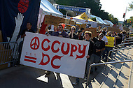 "October 6, 2011  (Washington, DC)  Hundreds of people from around the country remain in Washington on the third day of what has been deemed ""Occupy DC"".  On this day, some of the protesters clashed with security personnel at a Smithsonian Museum several blocks away from the encampment at Freedom Plaza.  (Photo by Don Baxter/Media Images International)"
