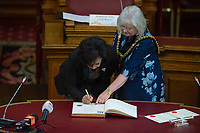 Pictured: Dame Shirley Bassey is given the freedom of her home city from Lloyd Mayor of Cardiff Dianne Rees, during a ceremony at the Cardiff City Hall, Wales, UK. Friday 17 May 2019<br /> Re: Dame Shirley Bassey is given the freedom of her home city, during a ceremony at the Cardiff City Hall, Wales, UK.