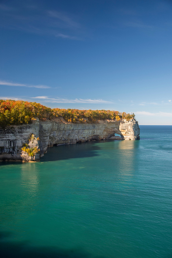 Fall color at Grand Portal Point in Pictured Rocks National Lakeshore on Michigan's Upper Peninsula.