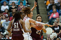 INDIANAPOLIS, IN - APRIL 3, 2011: Kayla Pedersen looks to break a play against Texas A&M at Conseco Fieldhouse during the NCAA Final Four  in Indianapolis, IN on April 1, 2011.
