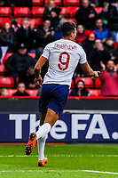 Everton's forward Dominic Calvert-Lewin (9) for England U21's  celebrates the opening goal during the International Euro U21 Qualification match between England U21 and Ukraine U21 at Bramall Lane, Sheffield, England on 27 March 2018. Photo by Stephen Buckley / PRiME Media Images.