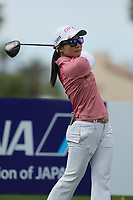 Ayako Uehara watches her drive off of the 9th tee during Round 3 at the ANA Inspiration, Mission Hills Country Club, Rancho Mirage, Calafornia, USA. {03/31/2018}.<br />