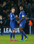Leicester's Jamie Vardy and Wes Morgan celebrate at the final whistle during the Champions League group B match at the King Power Stadium, Leicester. Picture date November 22nd, 2016 Pic David Klein/Sportimage