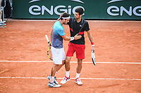 Marco Cecchinato (Italy) is congratulate by Novak Djokovic (Serbia) during Day 10 for the French Open 2018 on June 5, 2018 in Paris, France. (Photo by Anthony Dibon/Icon Sport)