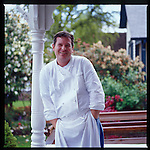 Chef Allen Routt of the Painted Lady, Newberg, OR photographed on the front porch of the restaurant