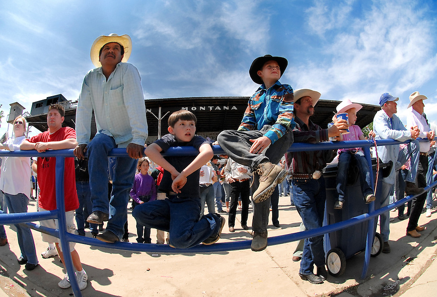 Spectators watch the action at the 2007 Bucking Horse Sale in Miles City, Montana.