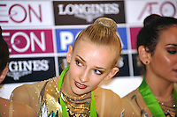 September 12, 2009; Mie, Japan;  Anzhelika Savrayuk of Italian rhythmic group wins gold in group All Around at the 2009 World Championships Mie, Japan.  Photo by Tom Theobald .