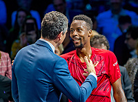 Rotterdam, The Netherlands, 16 Februari 2020, ABNAMRO World Tennis Tournament, Ahoy,<br /> Mens Single Final: Winner  Gaël Monfils (FRA) (R) receives congratulations from tournament dirctor Richard Krajicek <br /> Photo: www.tennisimages.com