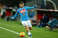 Napoli's Lorenzo Insigne controls the ball during the  italian serie a soccer match,between SSC Napoli and Sassuolo    at  the San  Paolo   stadium in Naples  Italy , January 17, 2016